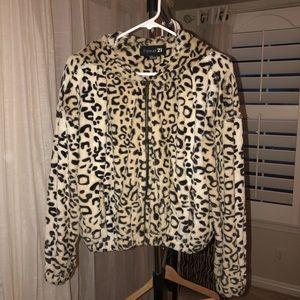 Forever 21 leopard fur jacket